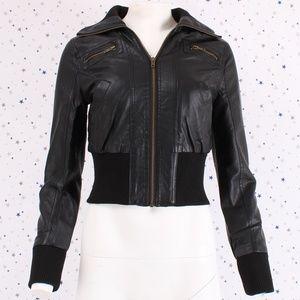 Jackets & Blazers - Zip Up Cropped Faux Leather Moto Biker Jacket